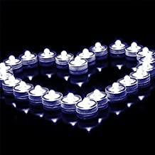 DODOLIGHTNESS New Decoration Light Led Submersible Waterproof Floral Decoration Party Tea Light Wedding Light (12PC, White)