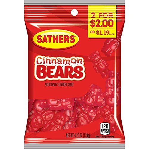 Sathers 2 for $2 Cinnamon Bears Gummy Candy, 4.25 Ounce - 12 per ()