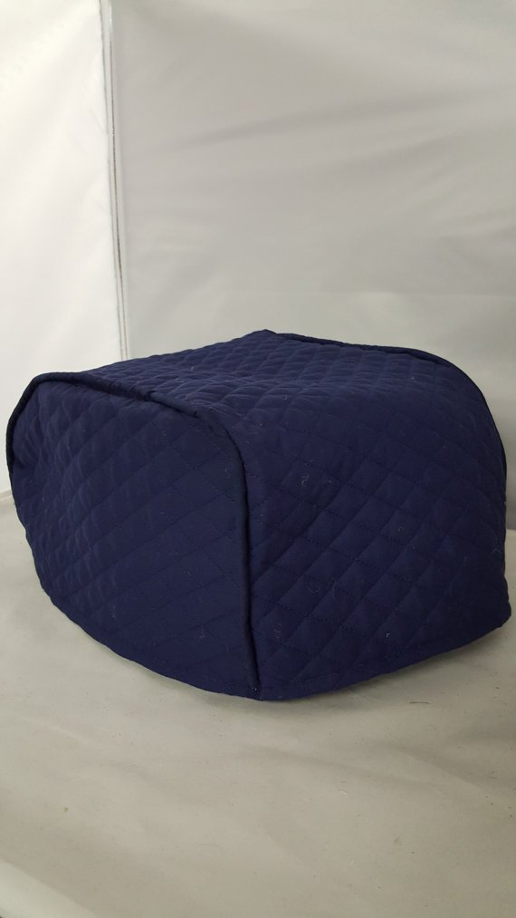"4 Slice Toaster Cover - Long Slot (15.75""x8""x8"") / Quilted Double Faced Cotton, Navy"