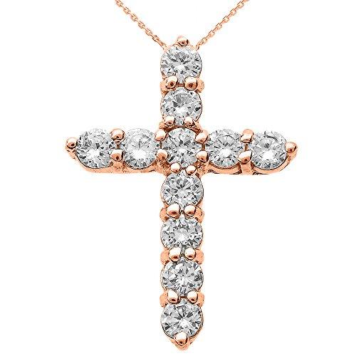 Collier Femme Pendentif 14 ct Or Rose Round Diamant Croix (Livré avec une 45cm Chaîne)