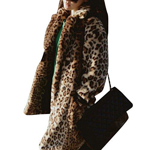 De Abrigo Mujer Parka Piel Invierno Invierno Largo Pelo De Capa Del La Leopardo De Chaquetas Sintética xI1wqtfT