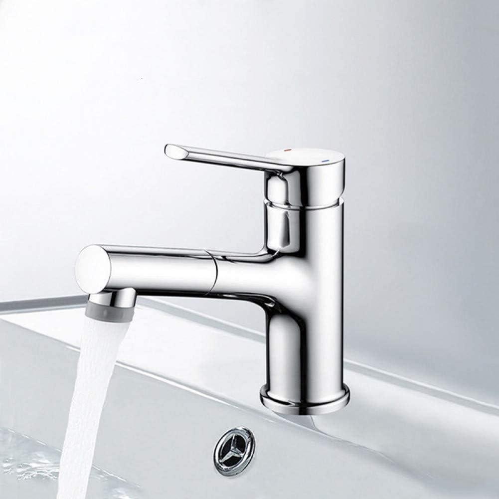 Grifo del grifo Grifo del lavabo del baño Grifo del fregadero del recipiente de cobre Extractor del rociador Grifo mezclador de agua caliente fría de 2 funciones Grifo monomando para lavabo