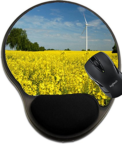 Msd Mousepad Wrist Protected Mouse Pads Mat With Wrist Support Design 19787233 Beautiful View Of Wind Turbine On Field Of Oil Rapeseed