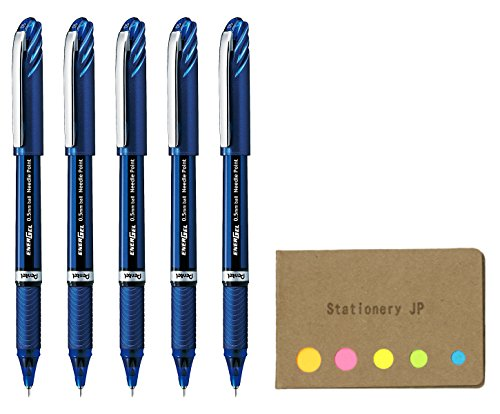 Needlepoint Blue (Pentel Energel Euro Ballpoint Pen, Extra Fine Point 0.5mm Needle Tip, Blue Ink, Blue Body, 5-pack, Sticky Notes Value Set)