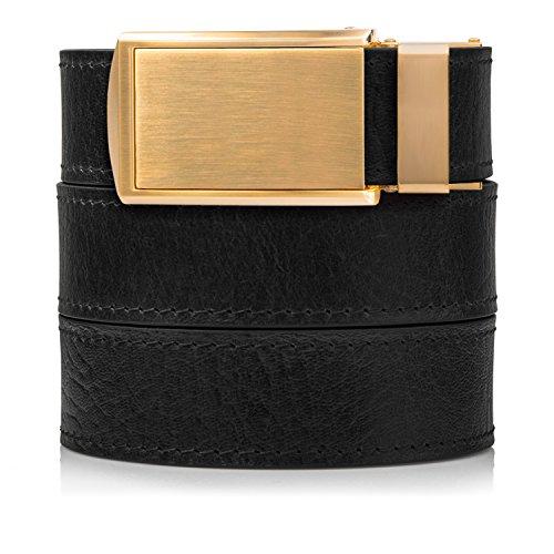 Mens Black Top Grain - Top Grain Black Leather Belt with Brushed Gold Buckle