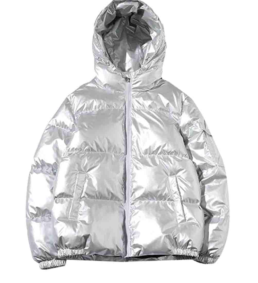 Gnao Mens Puffer Metallic Quilted Zip-Up Hooded Warm Winter Down Jacket