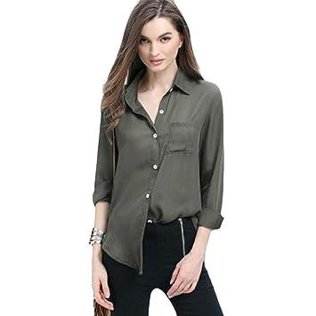 Sonnena - Blusa de gasa de manga larga para mujer, estilo holgado, informal negro