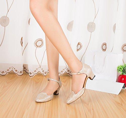 Glitter Evening Salsa Heel Shoes Chunky 4 Wedding Miyoopark Pumps Dance Low 5cm Latin Heel Womens Champagne 4nqUwIYvf