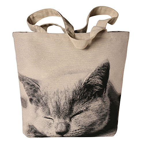 Women's Sleeping Cat Tote Bag - Zipper Closure Cotton/Poly Jacquard - Lined