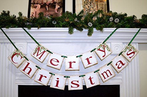 Merry Christmas banner Christmas Decorations Holiday Banner Christmas Garland Christmas Photo prop Antique Christmas banner