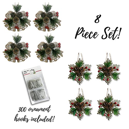 Holly Spray - Glittered Ornaments - Set of 8 Snowflake and Bell Xmas Decorations - 300 Metal Ornament Hooks Included - Christmas Pine Cone Ornament