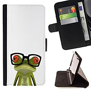 For Sony Xperia Z1 L39 Funny Glasses Frog Beautiful Print Wallet Leather Case Cover With Credit Card Slots And Stand Function