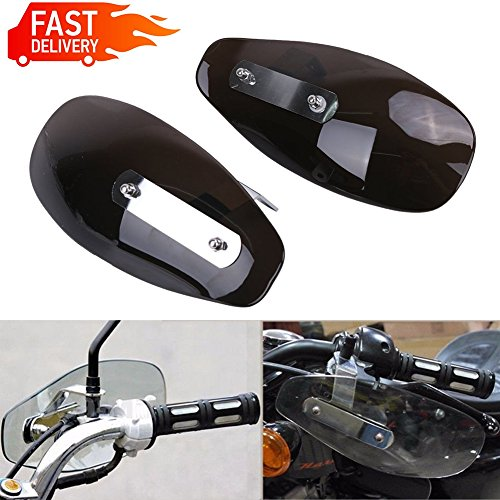 Buyinhouse 1 Pair Universal Motorcycle Windshield Protector Hand Guard Wind Deflector For Harley Yamaha Kawasaki Honda Smoke