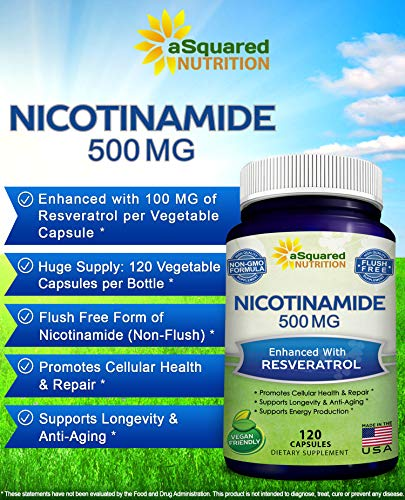 51INvobCDvL - Nicotinamide with Resveratrol - NAD+ Booster (120 Veggie Capsules) - Vitamin B3 500mg (Niacinamide Flush Free) - Supplement Pills to Support NAD, Anti Aging DNA Repair, Skin Cell Health & Energy