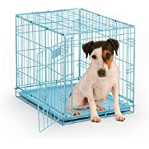 """MidWest iCrate 24"""" Blue Folding Metal Dog Crate w/ Divider Panel, Floor Protecting """"Roller"""" Feet & Leak Proof Plastic Tray; 24L x 18W x 19H Inches, Small Dog Breed"""