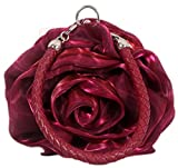 Bettyhome Women's Satin Rosette Bridal Bridesmaid Clutch Flower Wristlet Wedding Handbag Weave Handle Evening Bag (purplish red)