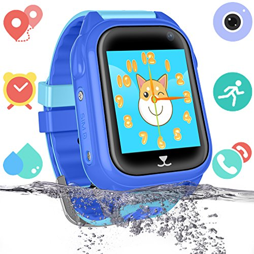 Att Camera Telephone - Kids Waterproof Smart Watch for Girls Boys - IP67 Water-resistant Children Smartwatch with GPS/LBS Tracker SOS Camera Anti-lost Game for Summer Outdoor Swim Pool Bath Sports Watch Phone (01 S8 Blue)