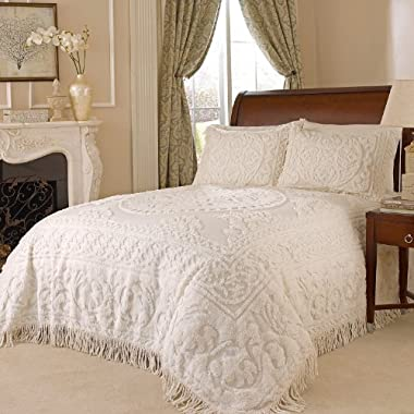 Beatrice Home Fashions Medallion Chenille Bedspread, Queen, Ivory