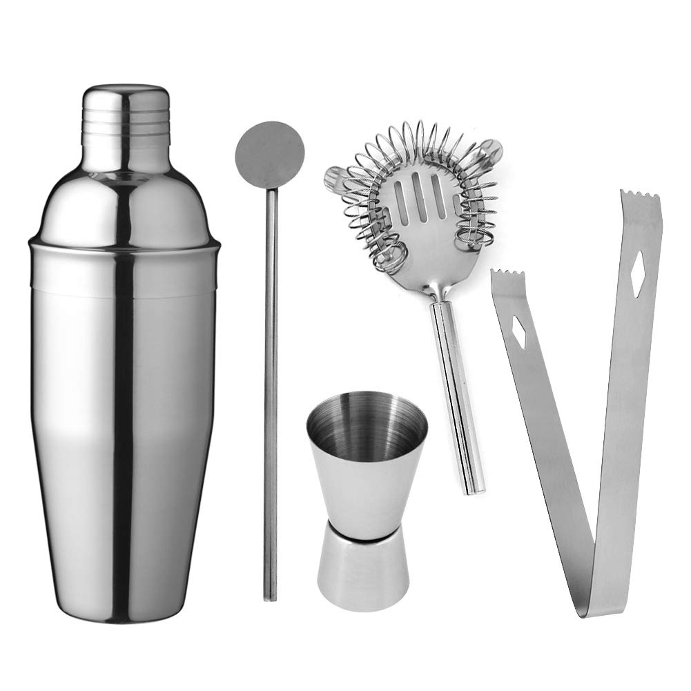 Delidge Stainless Steel Cocktail Shaker Set – 5 Piece750ML Bartender Kit with
