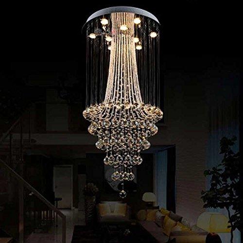 現代のledベッドルーム高級ホテルレストランシャンデリア二重階段のクリスタルランプリビングルームのペンダントランプLO23416PY (Size : Warm light d80cm) B07K2GBJP6  Warm light d80cm