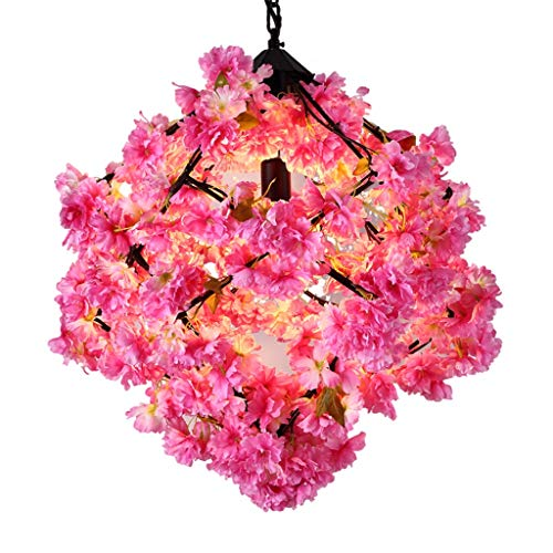 FF Chandelier Simulation Cherry Blossom Chandelier Party Chandelier Bedroom Restaurant Living Room Decoration Chandelier Chandelier (Color : Pink, Size : 505035CM) ()