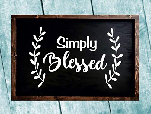 Simply Blessed Large Farmhouse Wood Sign