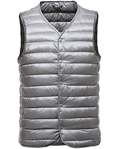 Down Vest Waistcoat (Trensom Men's Packable Puffer Down Vest Ultralight Waistcoat Button Down Jacket Coat Silver Small)