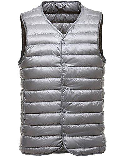 Vest Waistcoat Down (Trensom Men's Packable Puffer Down Vest Ultralight Waistcoat Button Down Jacket Coat Silver Small)