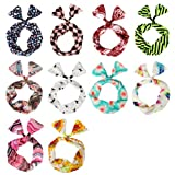 Search : BMC 10 Pack Women's Flexible Wire Bunny Ear Head Band Hair Wrap Bow Pin-Up Girl Fashion Scarf - Anti-Slip Design Stays in Place All Day - Versatile Twisted Tie w/ Assorted Color Patterns: Various Sets
