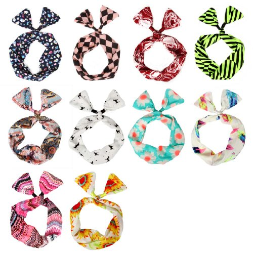 BMC 10 Pack Womens Flexible Wire Bunny Ear Head Band Hair Wrap Bow Pin-Up Girl Fashion Scarf - Anti-Slip Versatile Twisted Tie w/Assorted Color Patterns