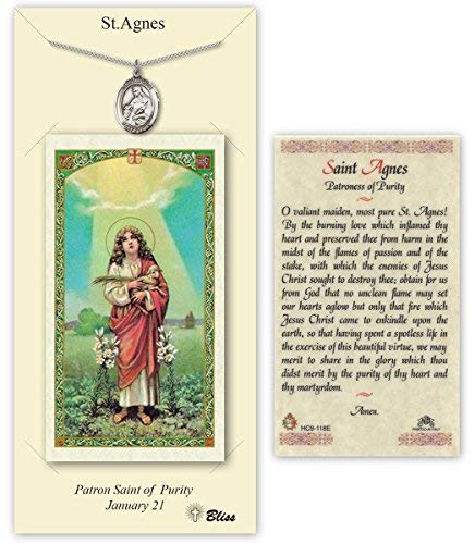 Carded Pewter Medals by Bliss Mfg. Pewter Saint Agnes of Rome Medal with Laminated Holy Prayer -