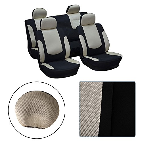 - OCPTY Car Seat Cover, Stretchy Universal Seat Cushion w/Headrest 100% Breathable Automotive Accessories with Durable Washable Mesh/Polyester for Most Cars(Black/Beige)