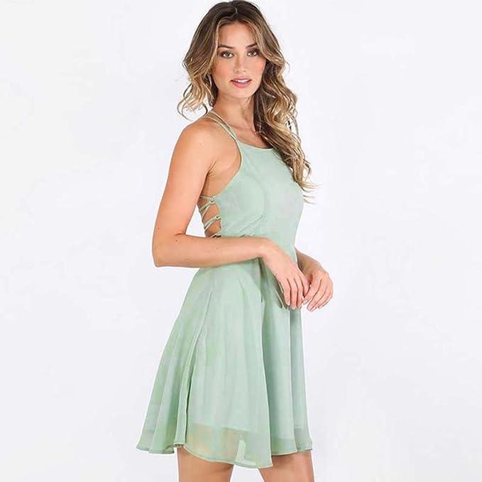 Kleid Damen Btruely Vintage Kleid Mädchen Ärmellos Minikleid ...