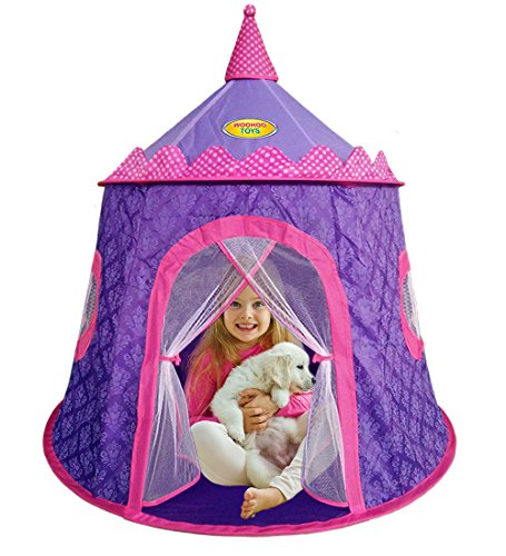 Gorgeous Princess Castle Play Tent for Girls – Children Playhouse for Indoor & Outdoor, Thick Durable Fabric with Elegant Motif Print, Great for Kids to Pretend Play (Purple & Pink) – by WooHoo - Tent Play