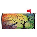 "Colorful Rainbow Tree of Life Branch Mailbox Covers Standard Size Abstract Tree of Life Summer Spring Autumn Winter Magnetic Mail Cover Letter Post Box 21"" Lx 18"" W"