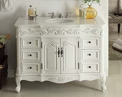 "42"" Benton Collection Traditional Style Antique White Beckham Bathroom  Vanity SW-3882W-AW - 42"
