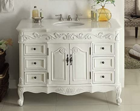 Delicieux 42u201d Benton Collection Traditional Style Antique White Beckham Bathroom  Vanity SW 3882W AW