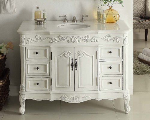 "42"" Benton Collection Traditional Style Antique White Beckham Bathroom Vanity SW-3882W-AW-42 - Aw Antique Bathroom Vanity"