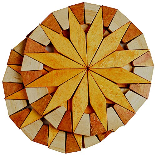 Natural Wood Trivets For Hot Dishes - 2 Eco-friendly, Sturdy and Durable 7'' Kitchen Hot Pads. Handmade Festive Design Table Decor - Perfect Kitchen Gifts Idea. (Yellow)