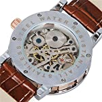 Watches, Mens Mechanical Skeleton Hand-Wind Steampunk Bling Watch for Men Women, Roman Numeral PU Leather Silver Rose-Gold Case Unisex Wrist Watch 12