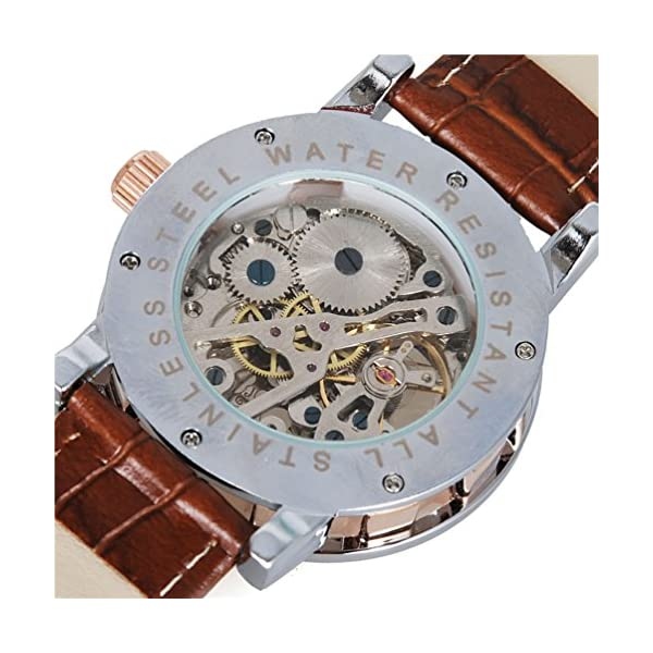 Watches, Mens Mechanical Skeleton Hand-Wind Steampunk Bling Watch for Men Women, Roman Numeral PU Leather Silver Rose-Gold Case Unisex Wrist Watch 6