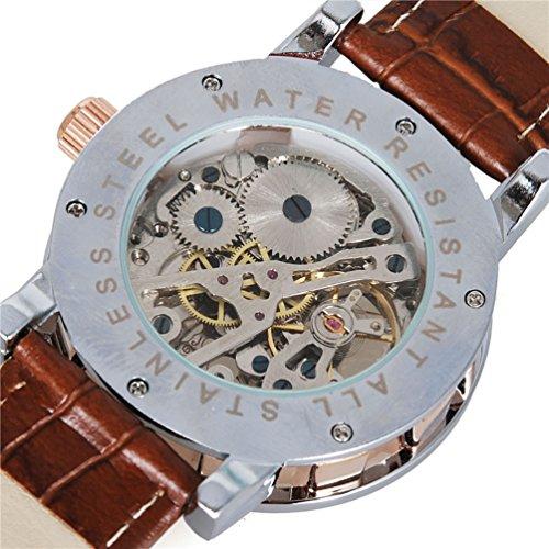 GuTe Steampunk Bling Skeleton Mechanical Hand-wind Wristwatch Silver Rose-gold Case