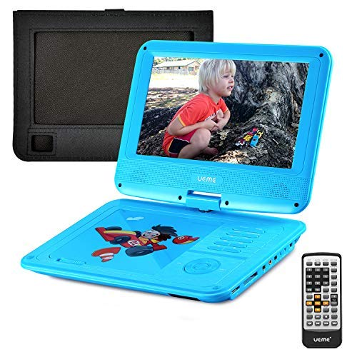 UEME Portable DVD CD Player with 9 Inch LCD Screen, Car Headrest Canvas Case, Remote Control, SD Card Slot and USB Port, Personal DVD Player with Rechargeable Battery PD-0093 (Blue) -