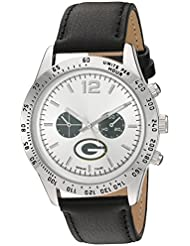 Game Time Mens Letterman  Metal and Leather Quartz Analog Watch, Color:Black (Model: NFL-LET-GB)