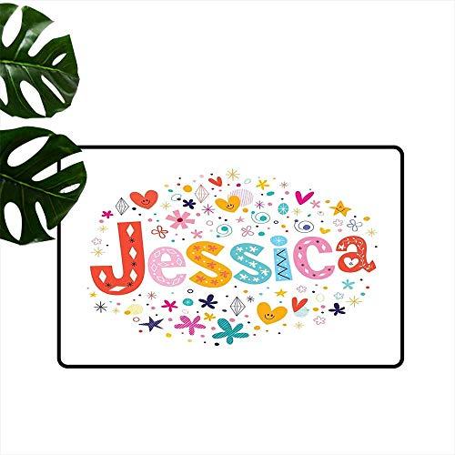 Anzhutwelve Jessica,Durable Rubber Door Mat Retro Colorful Motifs Swirls Chevron Zigzags and Happy Hearts Ornate Dots Backdrop Non Slip Door Mat for Front Door W 24