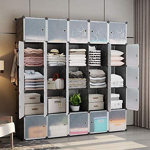 GEORGE&DANIS Portable Closet Organization Plastic Modular Wardrobe Cube Storage Shelf Bookcase Bookshelf MultiFuncation Toy Organizer Cabinet Dresser, Black, 25 Cubes