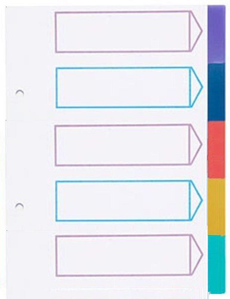 New A5 5 Part Dividers Colour Coded Tabbed Ringbinder Folder Index Sheet G4GADGET
