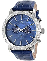 Porsamo Bleu NYC Genuine Leather Silver Tone & Blue Mens Watch 056ANYL