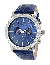Porsamo Bleu NYC Genuine Leather Silver Tone & Blue Men's Watch 056ANYL