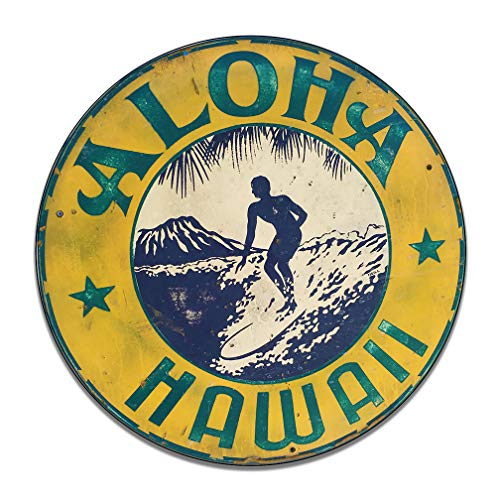 Brotherhood Aloha Hawaii Surfer Diamond Head Vintage Design Garage Sign Metal Garage Sign Vintage Style Garage Signs Garage Decor Metal Tin Signs Round Reproduction Aluminum Sign